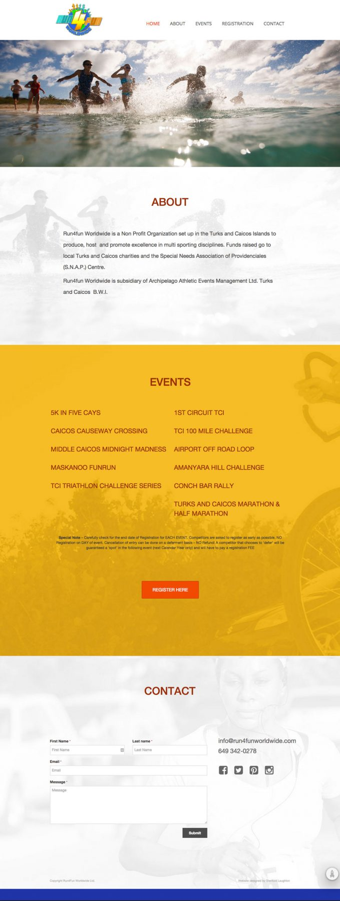 Run4Fun Worldwide: Onepage website