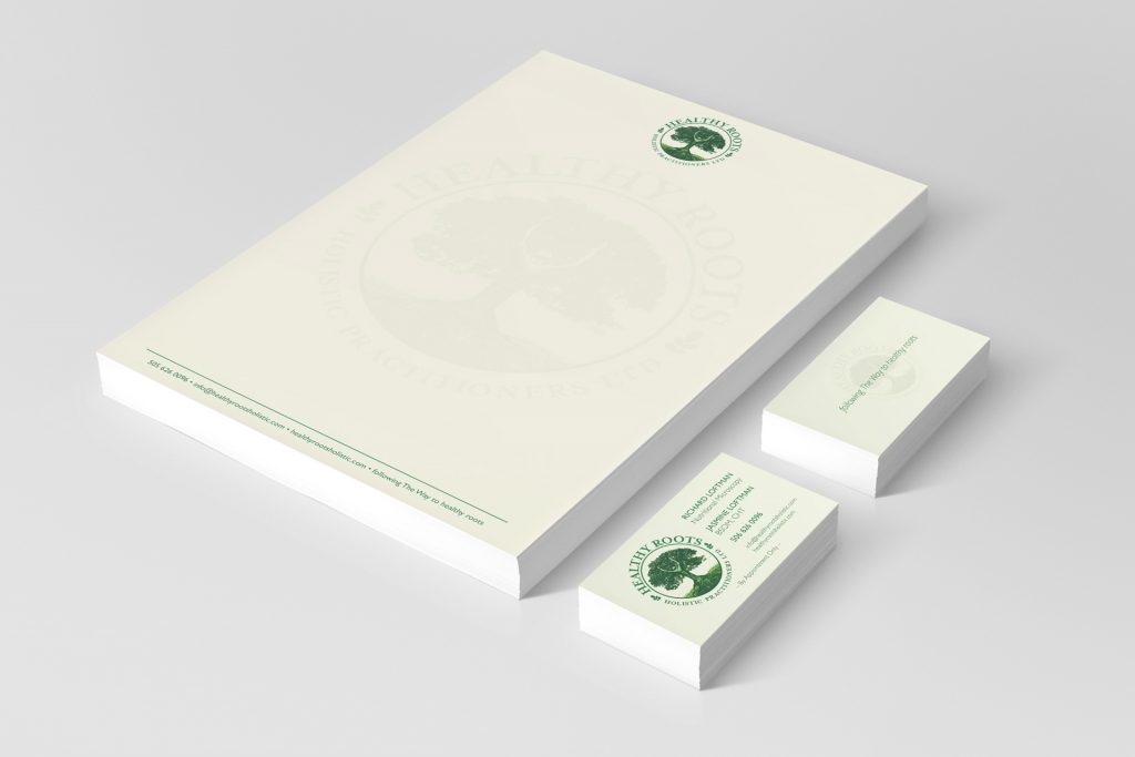 Healthy Roots Holistic Practitioners: business card and letterhead design