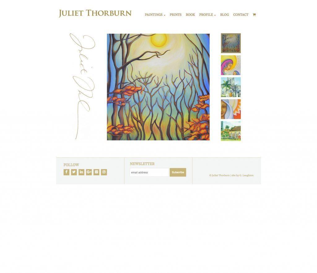JulietThorburn.com website home page - desktop version