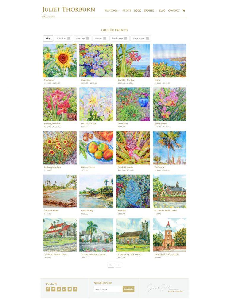 JulietThorburn.com website prints group page - desktop version