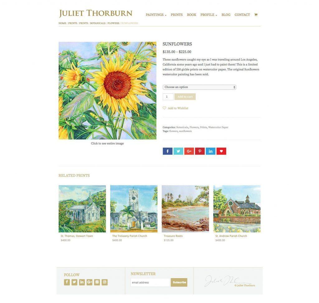 JulietThorburn.com website ecommerce print product page - desktop version