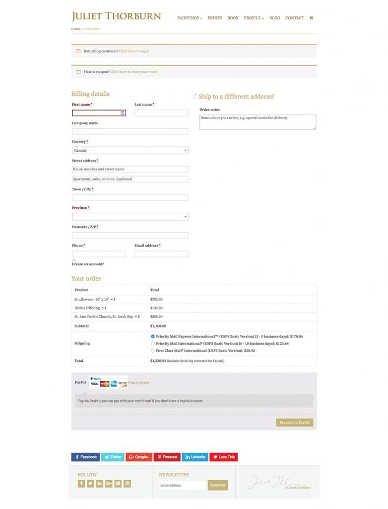 JulietThorburn.com website ecommerce billing page - desktop version