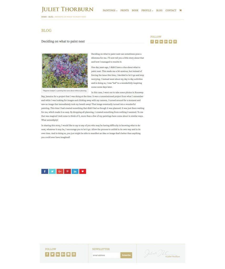 JulietThorburn.com website blog post page - desktop version