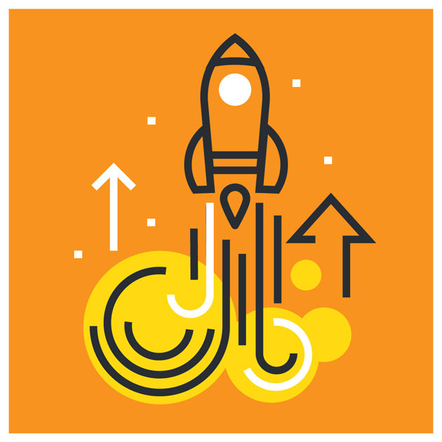 Graphic representing launching a website